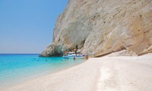 Private boat at secluded beach in Zakynthos
