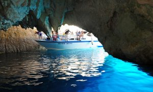 Private boat in the blue caves