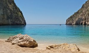Secluded beach near Navagio Beach Zakynthos