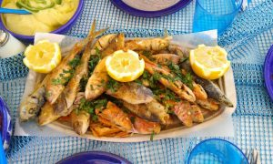 Freshly cooked fishes from our fishing tour in Zakynthos