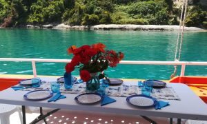 Table is ready on our fishing tour in Zakynthos