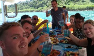 Eating the catch on our Zakynthos fishing tour